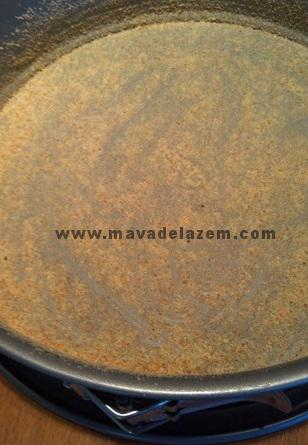 پودر نان سوخاری  می پاشیم تا تمتم کف و دیواره قالب را بپوشاند